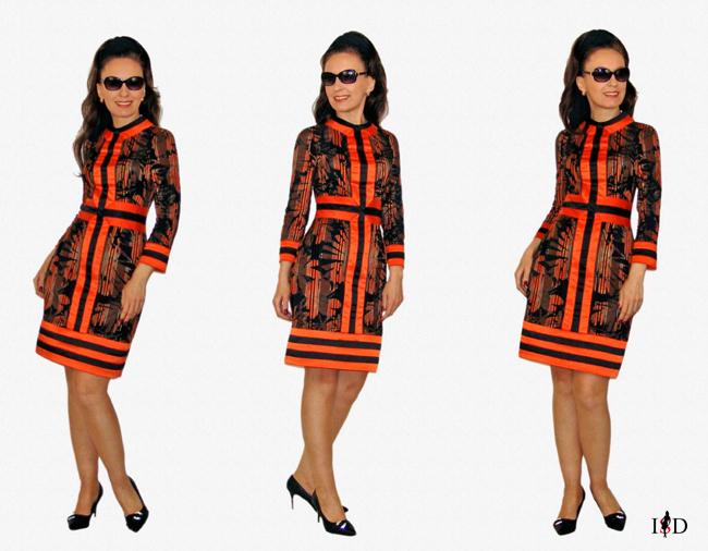 satinkleid orange-schwarz