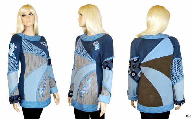 patch sweater blau-grau designer