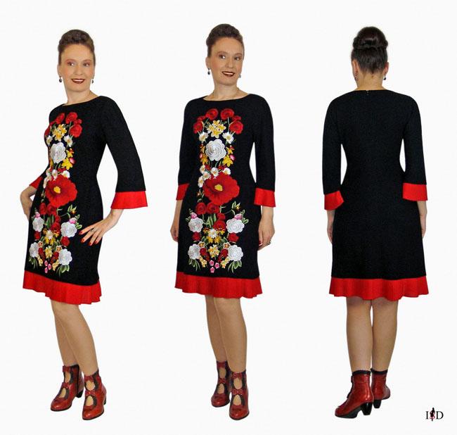 haute couture etuikleid mit blumenstickerei