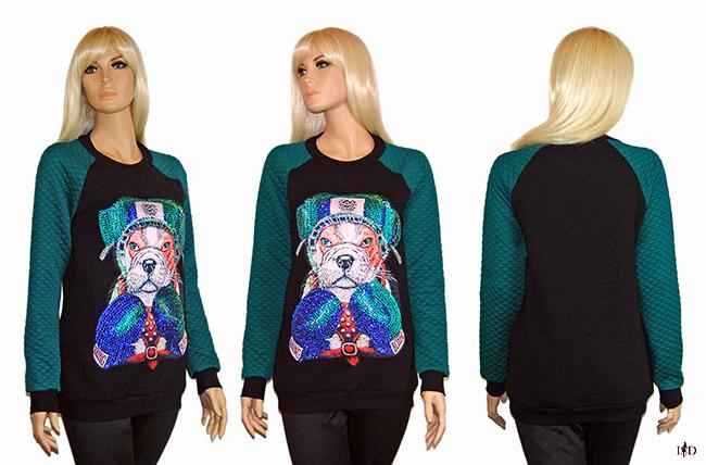 Designer Sweatshirt mit Pailletten Applikation