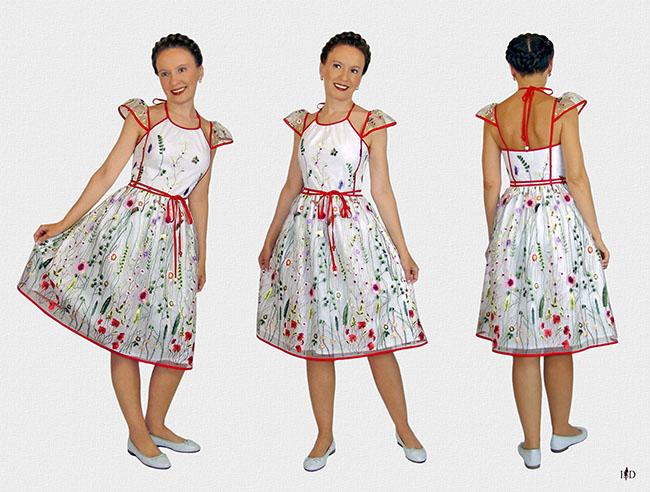 sommer mesh kleid designer bestickt