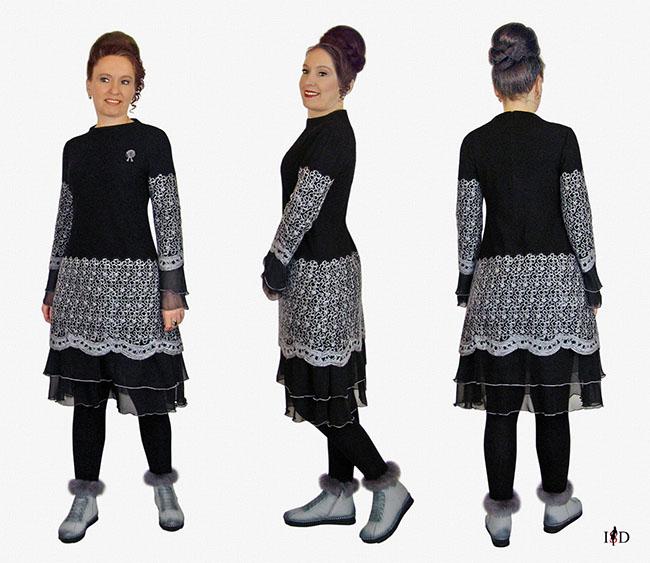 designerkleid a-line ,wollkleid