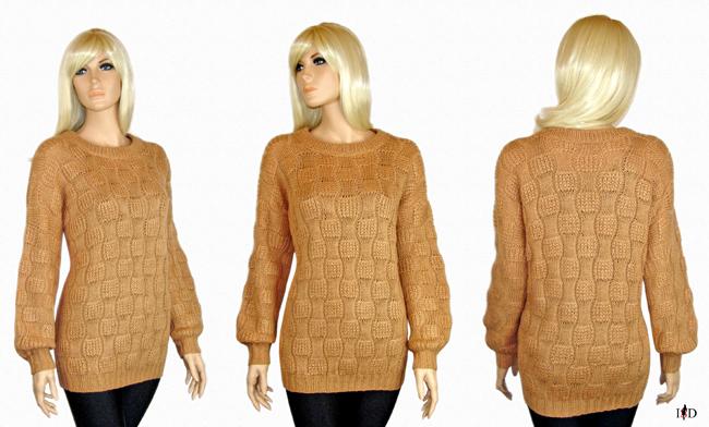 patentmuster pullover in camel