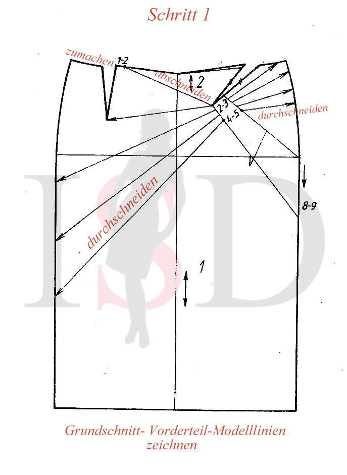 Stiftrock- Schnittkonstruktion