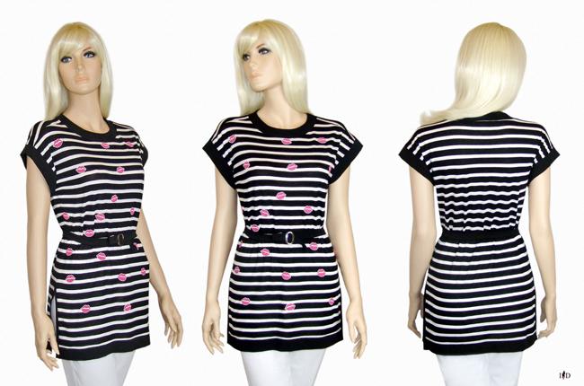 gestreifte Shirt-Tunika schwarz-weiß