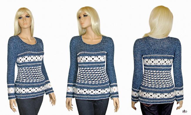 häkelsweater jeansblau portfolio