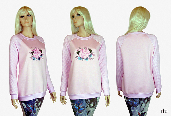 rosa sweatshirt rose stickerei