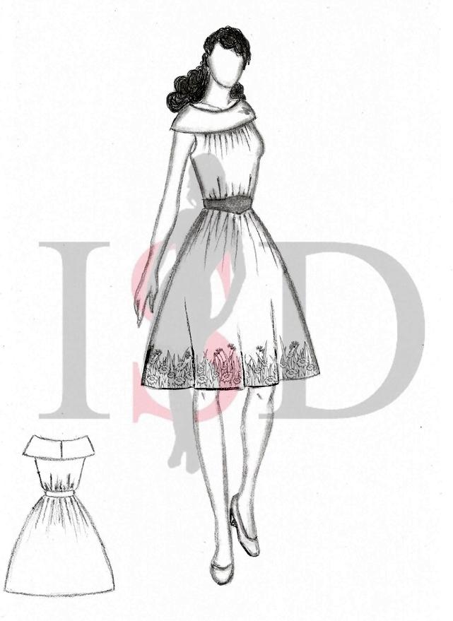 Kleid mit Blumensaum