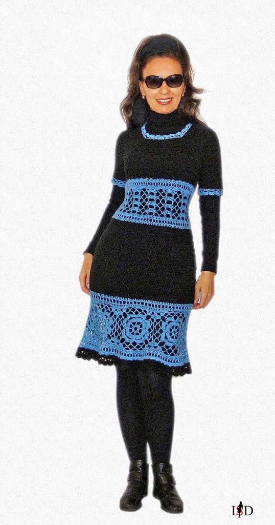 winterhäkelkleid in blau-schwarz