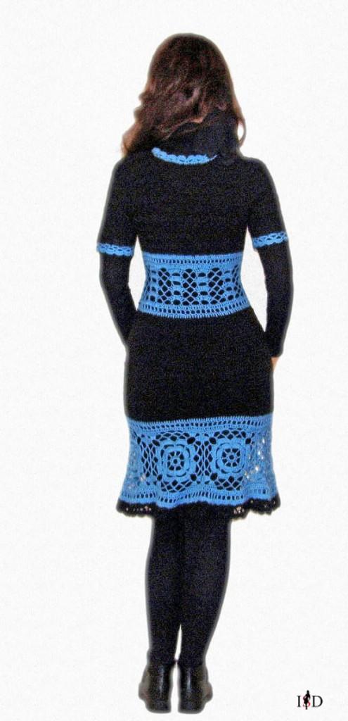 häkelkleid schwarz-blau