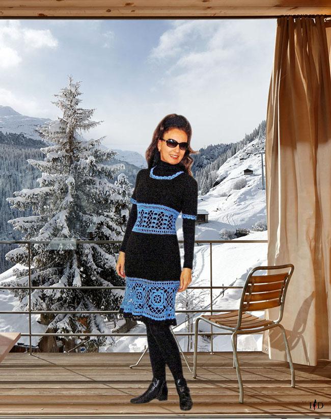 Winterhäkelkleid  blau-schwarz