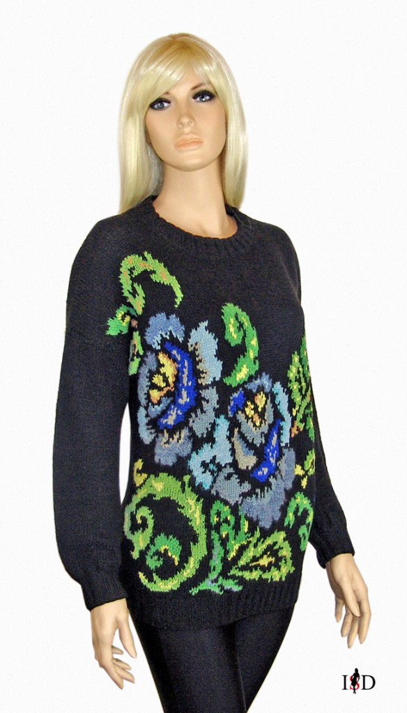jacquard pullover rosenmuster