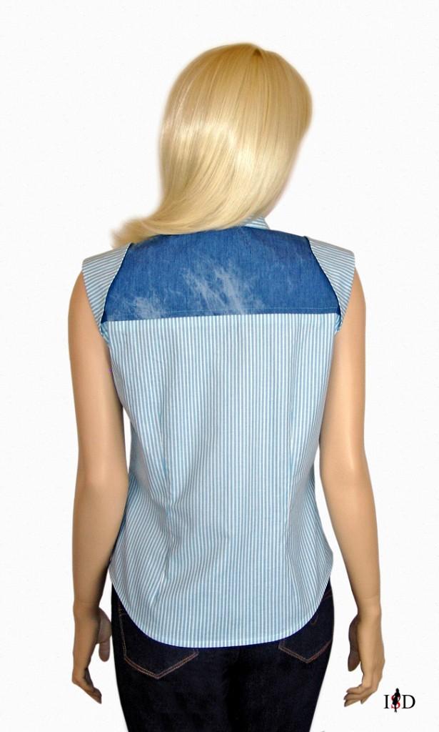Hemdbluse Batik blau gestreift