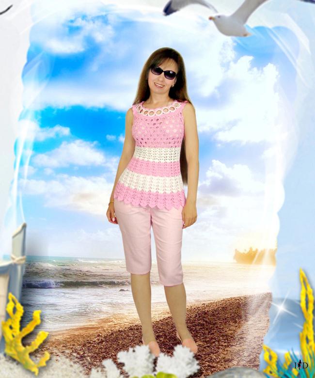 häkeltop rosa-weiß