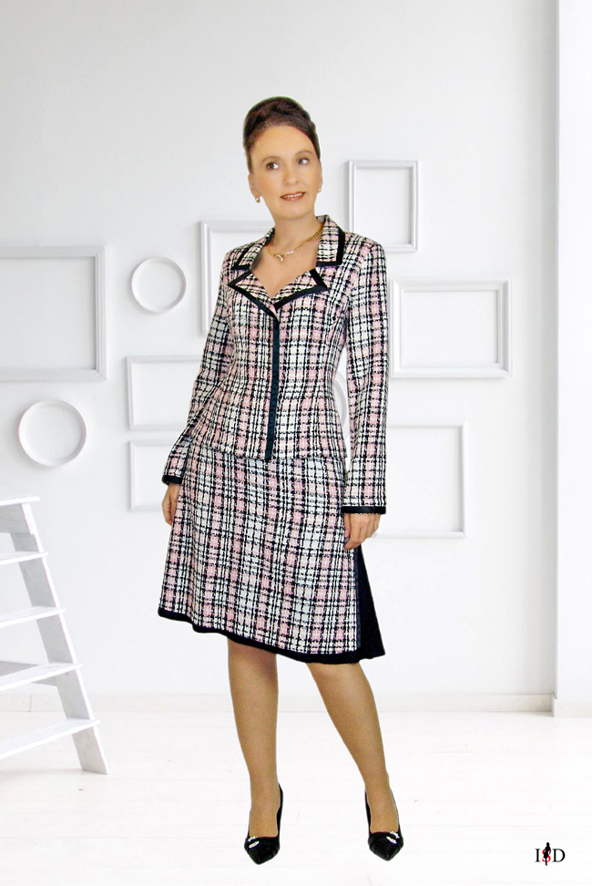 tweed kostüm mit doppelrock