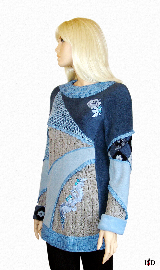 patch sweater blau