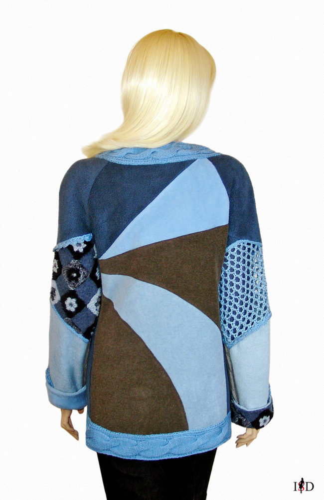 patch sweater grau, blau