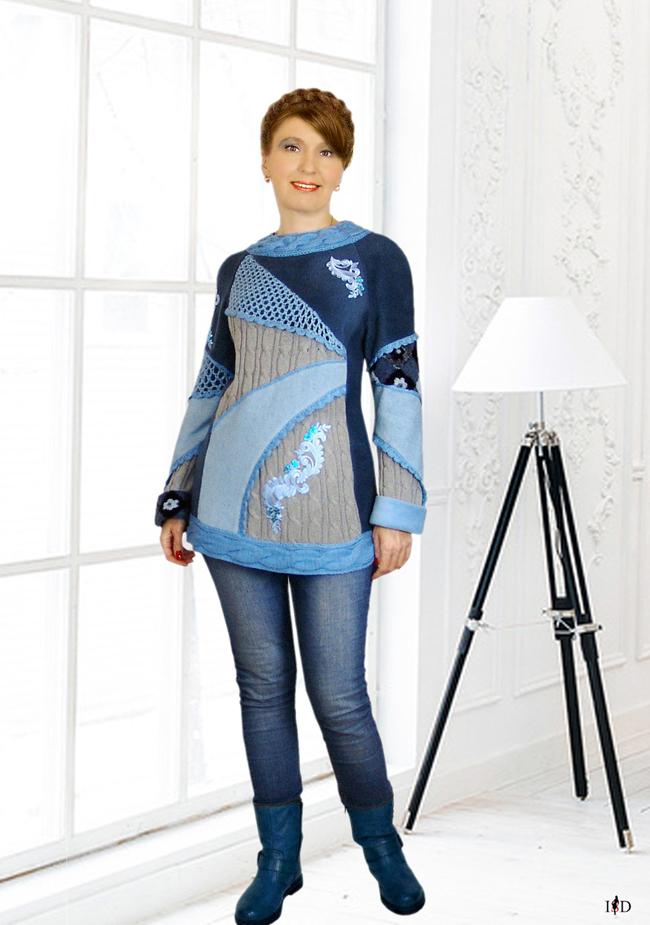 patchsweater blau