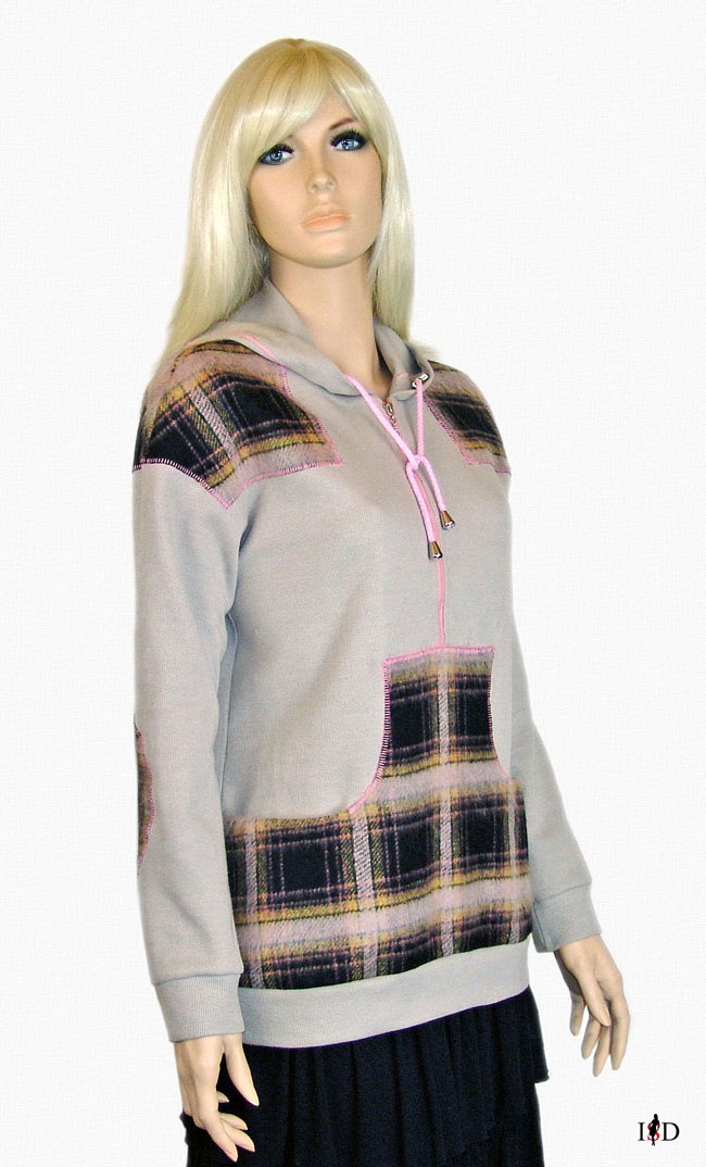 sweat sweater flaneleinzatz