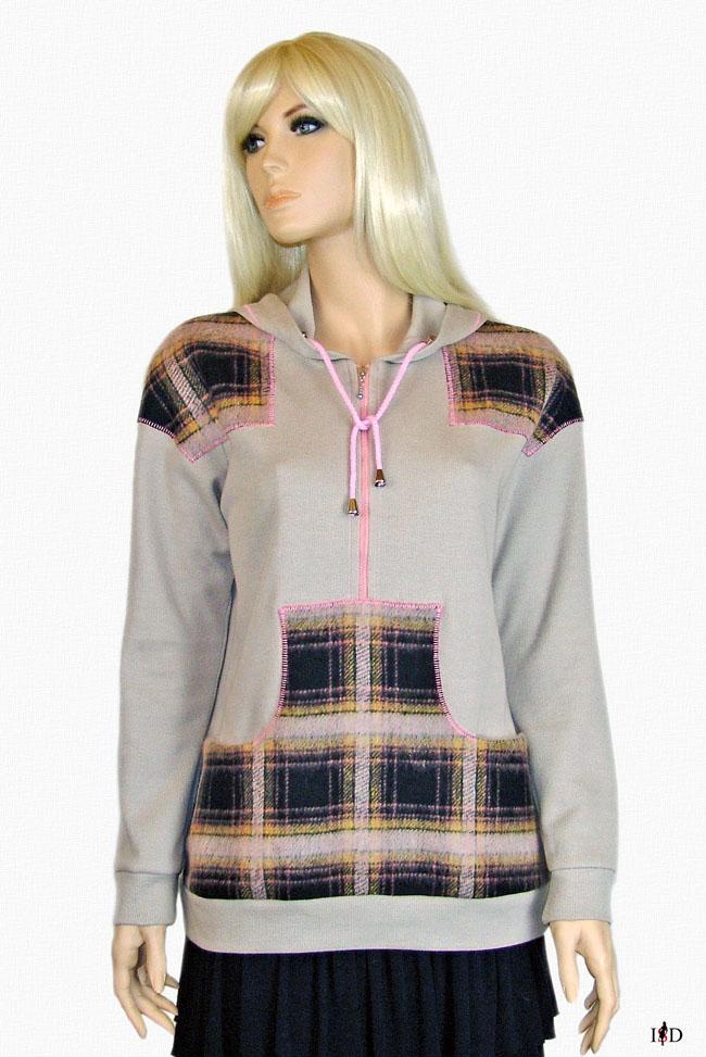 sweat sweater  flaneleinsatz baumwolle