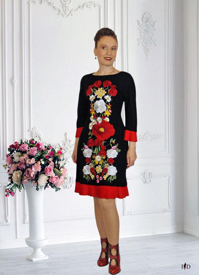 haute couture etuikleid schwarz,stickerei