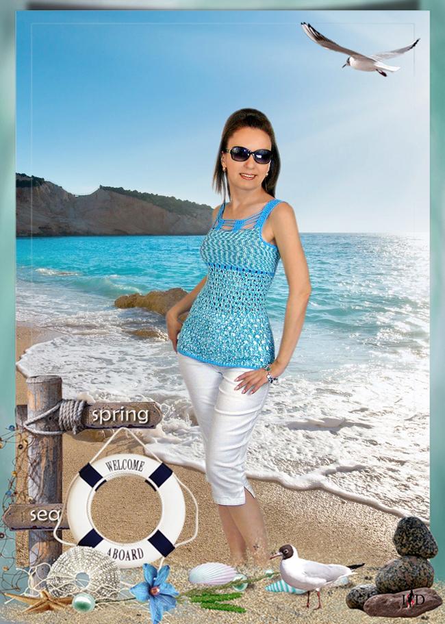 designer häkeltop blau-weiß