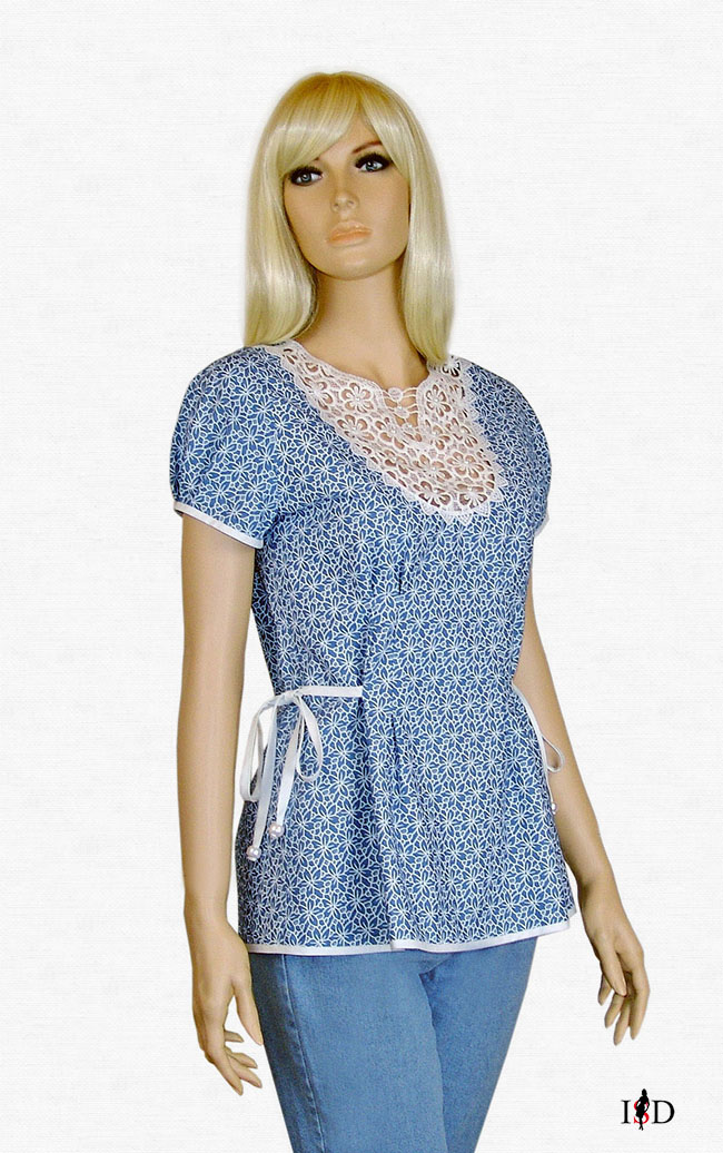 sommer jeans bluse vintage loch muster