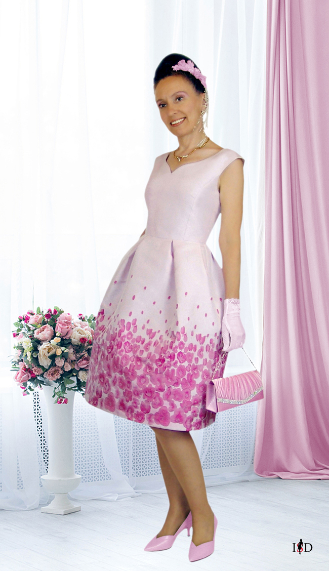 jacquard cockteilkleid in rosa