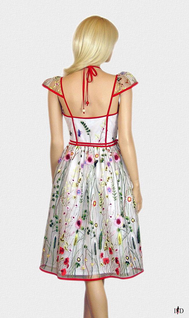 designer mesh kleid weiß bestickt