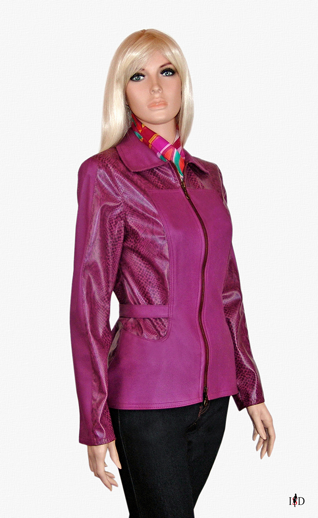 leder mix jacke in magenta