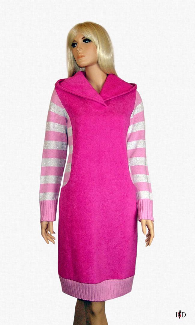 Kapuzen Freizeitkleid pink
