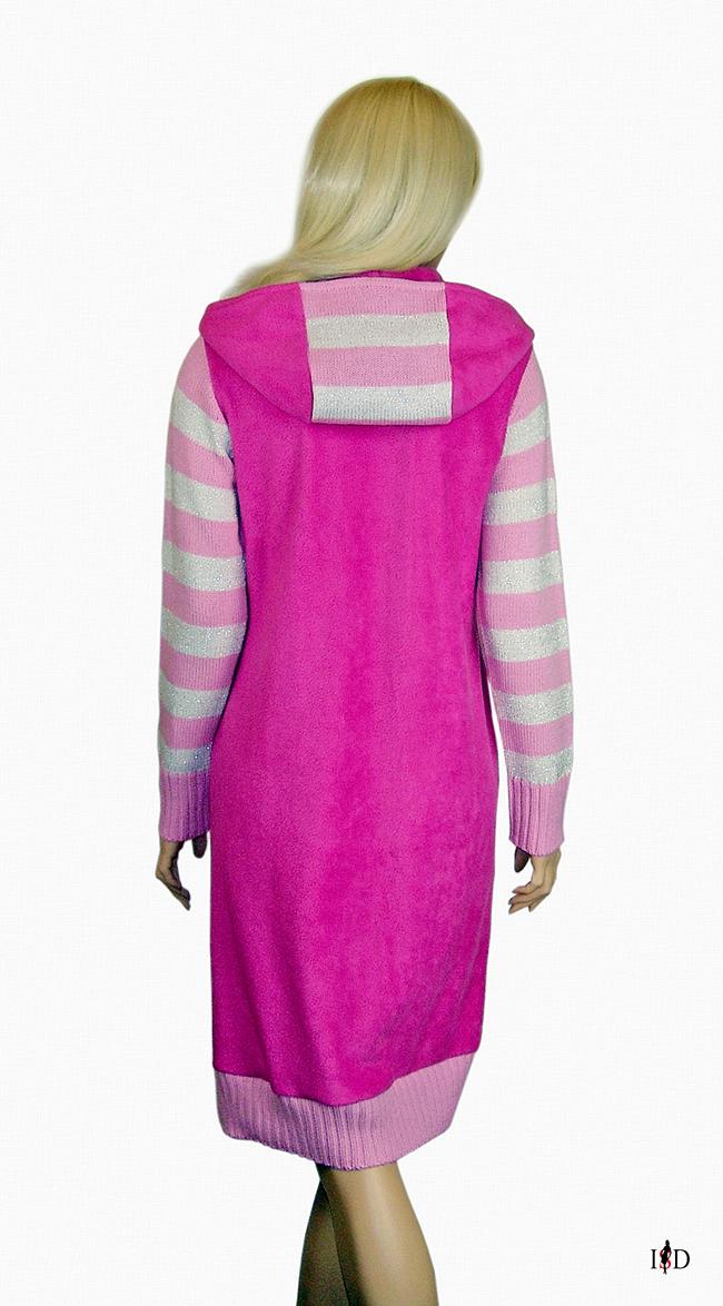 Kapuzen Freizeitkleid pink-rosa