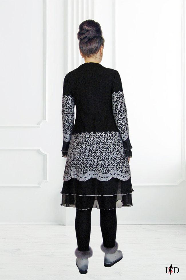 Designer A-Line Wollkleid ,gestickt