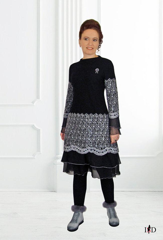 designer a-line kleid wollfadenstickerei