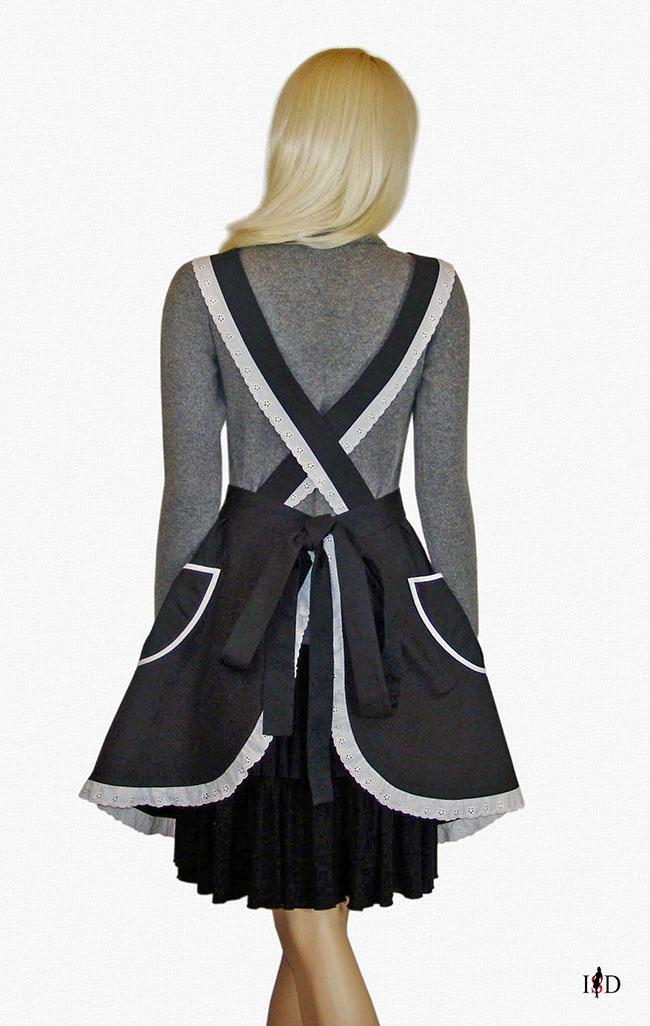designer reto schürze schwarz-weiß