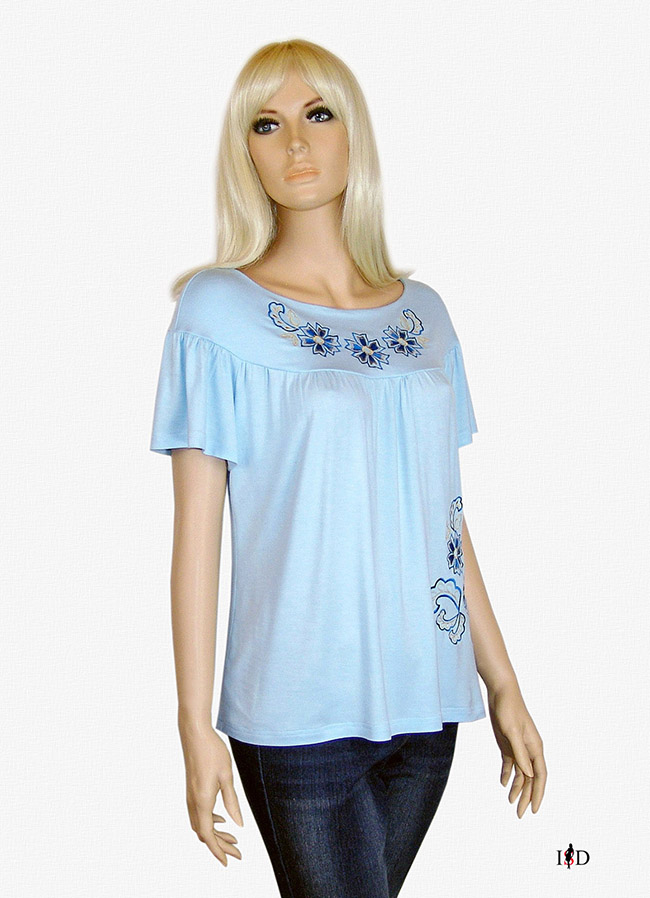 designer stickerei shirt himmelblau