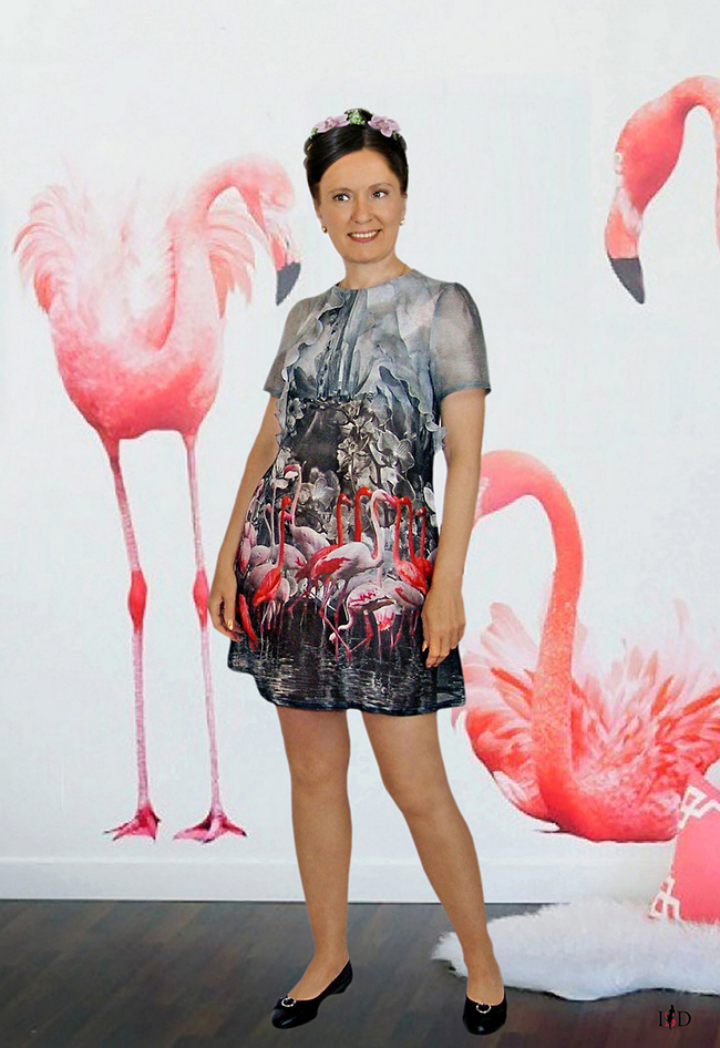 seidenkleid flamingo dessin