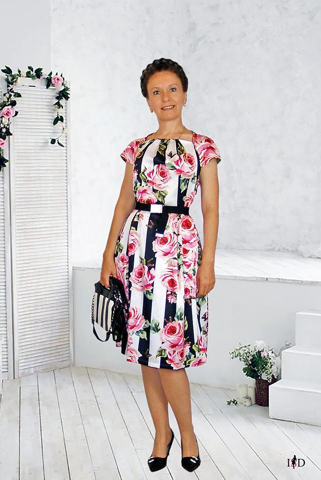 Designer Seidenkleid Rosenprint gestreift