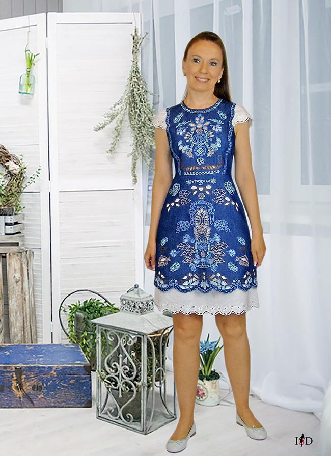 designer lochstickerei baumwoll sommerkleid