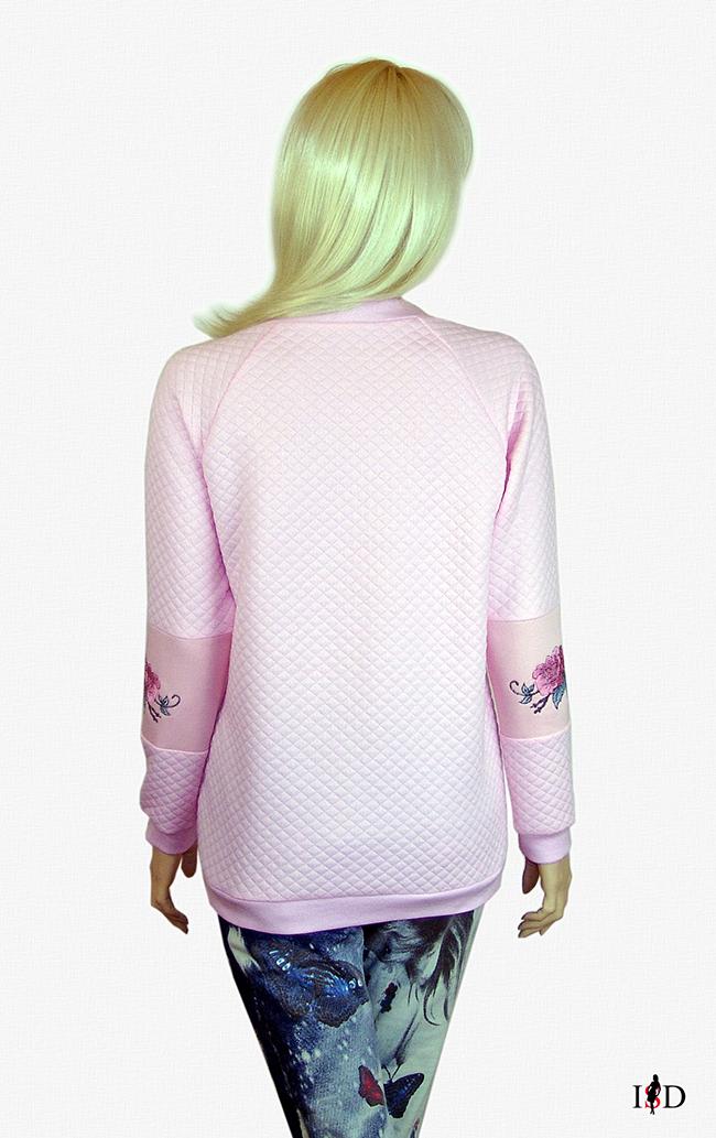 designer stepp sweatshirt rosa mit rosen stickerei
