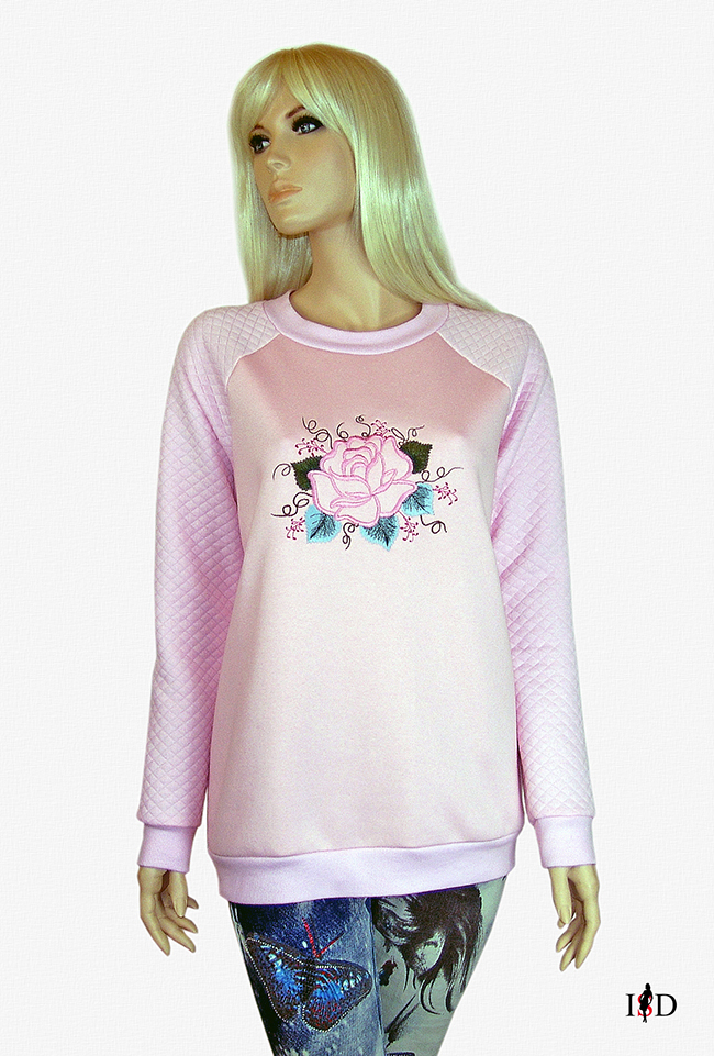 rosa stickerei sweatshirt