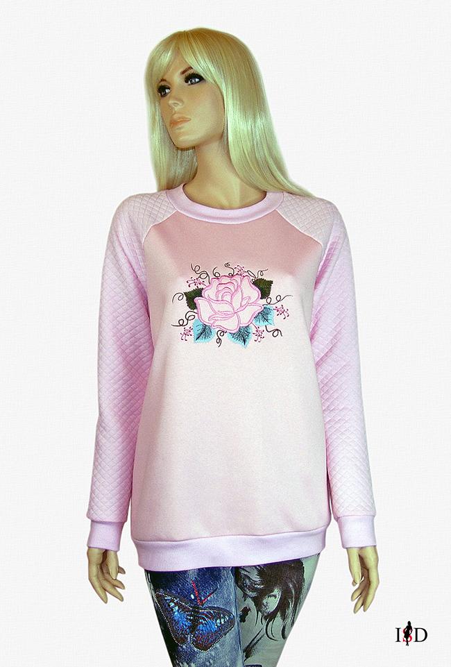 rosa stickerei sweatshirt
