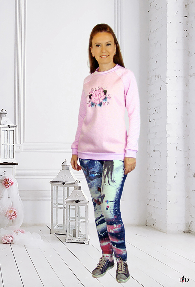 rosa sweatshirt mit rose stickerei