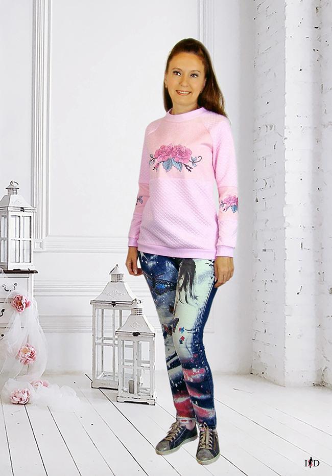 rosa stepp sweatshirt rosen bestickt