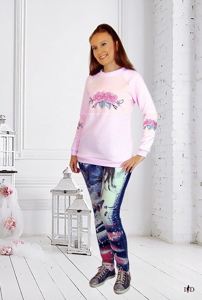 designer rosa stepp sweatshirt rosen bestickt