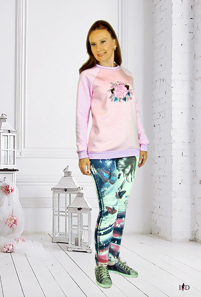 designer rosa sweatshirt mit rose stickerei
