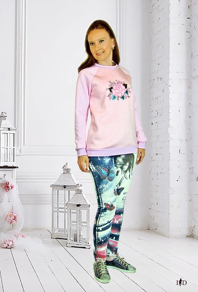 designer rosa sweatshirt mit rose stickerei