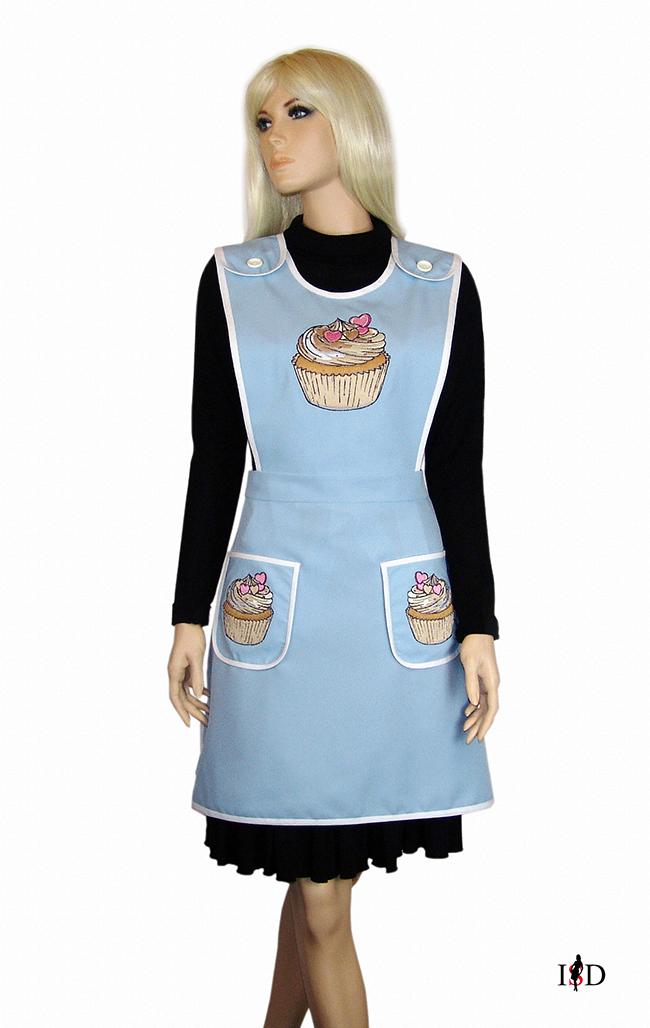 nostalgie küchenschürze Cupcake himmelblau