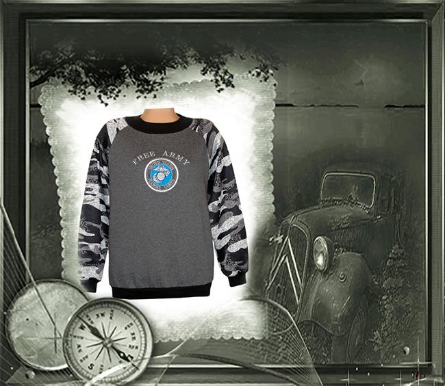 herren sweater military bestickt