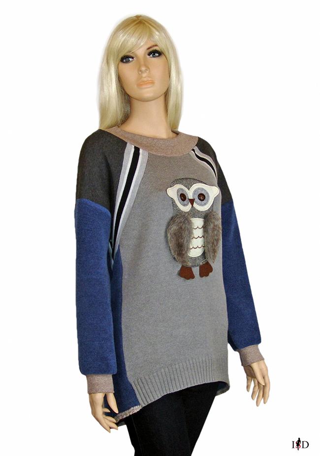 designer patch sweater  mit 3d applikation